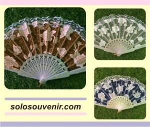 Souvenir Pernikahan Kipas Glitter Transparan Bunga