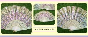 Souvenir Pernikahan Kipas Glitter Transparan Gold