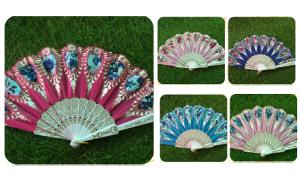 Souvenir Pernikahan Kipas Glitter Bunga Oval
