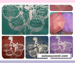 Souvenir Pernikahan Payung Lipat 3 Warna Sablon 2 Sisi 1 Warna