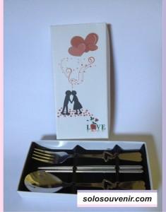 Souvenir Pernikahan Sendok Garpu Sumpit Set Box