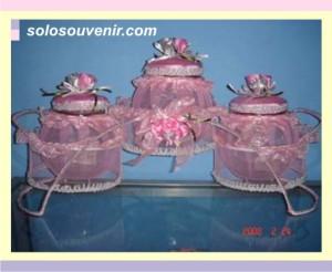 Souvenir Pernikahan toples isi 3 pink