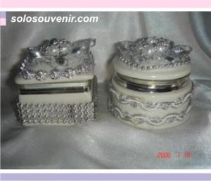 Souvenir Pernikahan Tempat Perhiasan mote silver