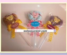 Souvenir Pernikahan towel lollypop teddy bear ( TC 11 )